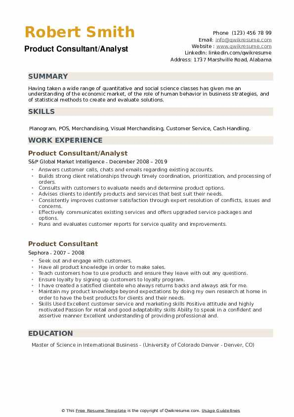 Product Consultant/Analyst Resume Sample