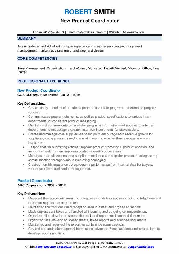 New Product Coordinator Resume Template