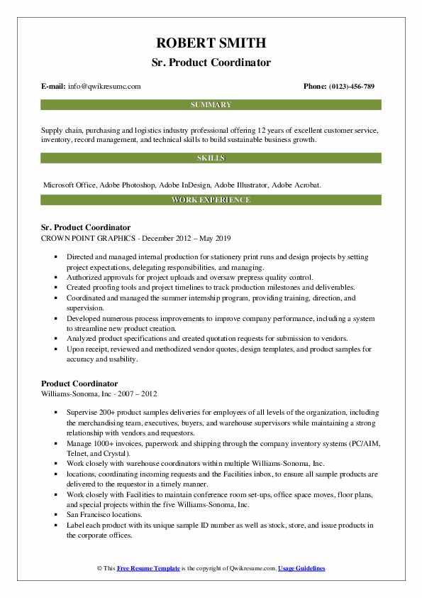 Sr. Product Coordinator Resume Format