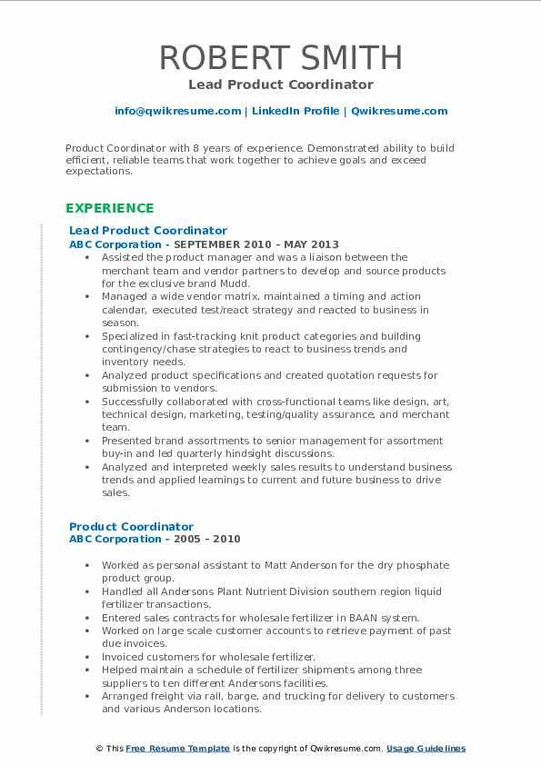 Lead Product Coordinator Resume Sample