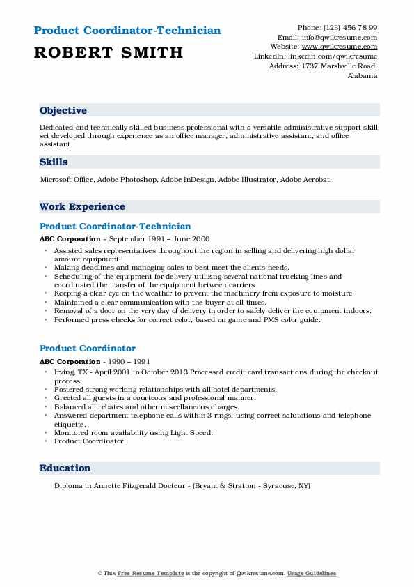 Product Coordinator-Technician Resume Format