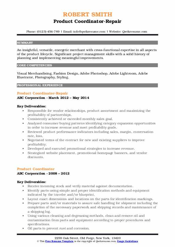 Product Coordinator-Repair Resume Example