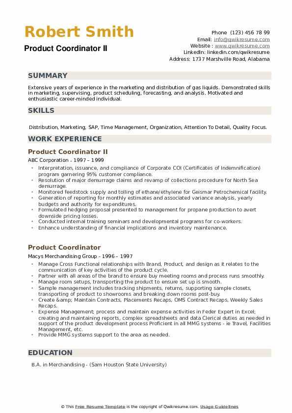 Product Coordinator II Resume Template
