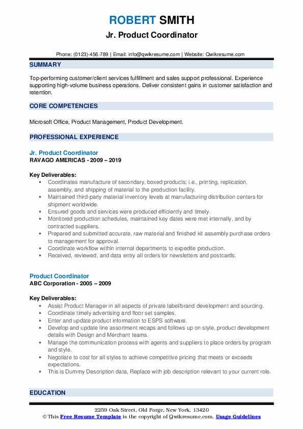 Jr. Product Coordinator Resume Model
