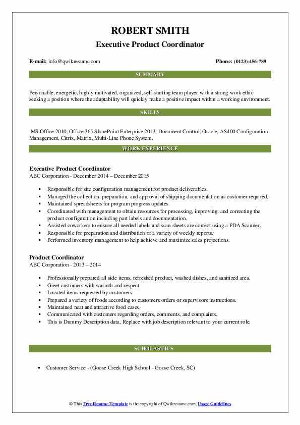 Executive Product Coordinator Resume Format