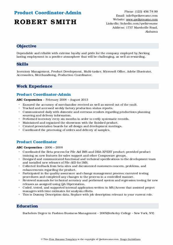 Product Coordinator-Admin Resume Model