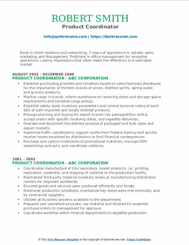 Product Coordinator Resume example
