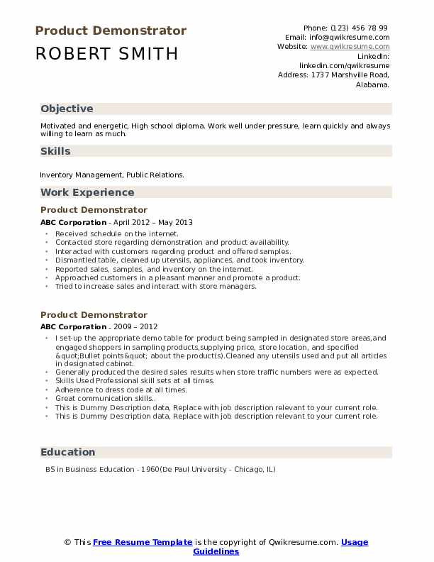 Product Demonstrator Resume example