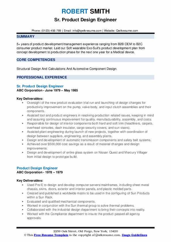 product design engineer resume samples