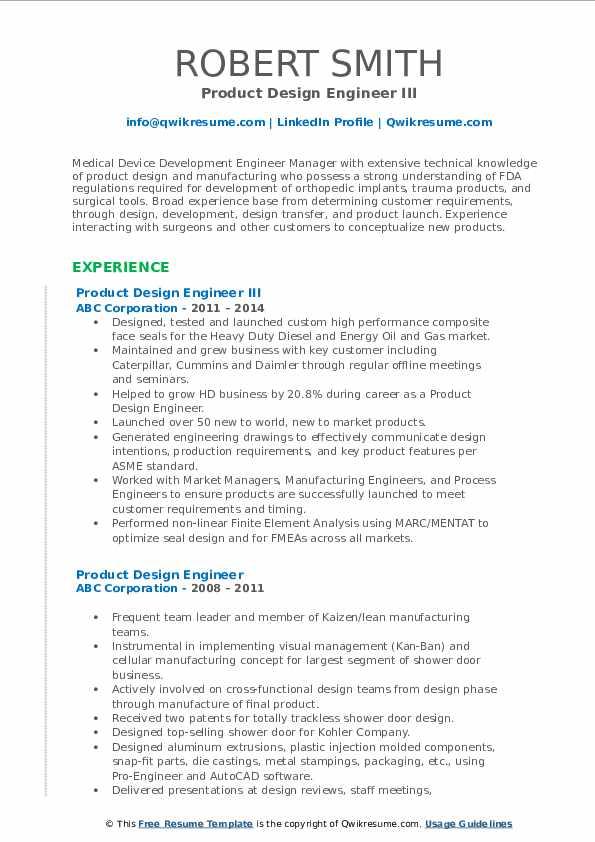 Product Design Engineer III Resume Format