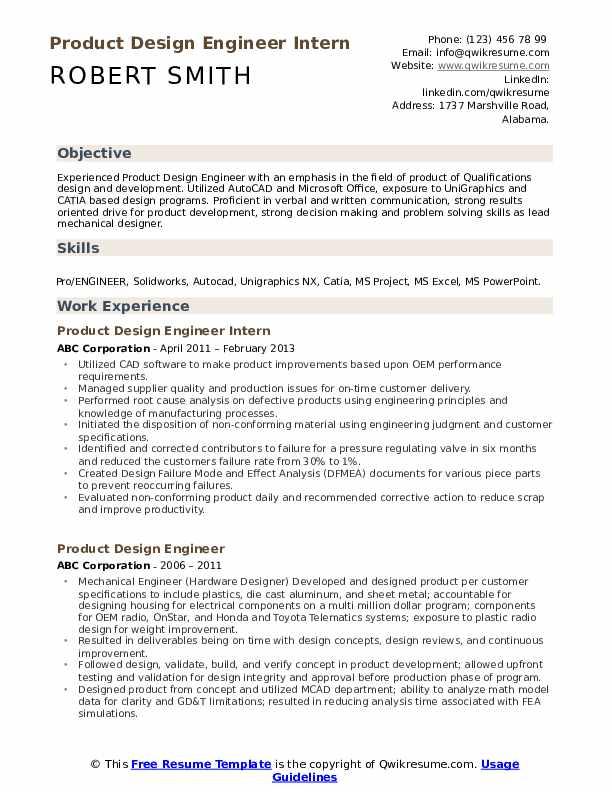 Product Design Engineer Intern Resume Model
