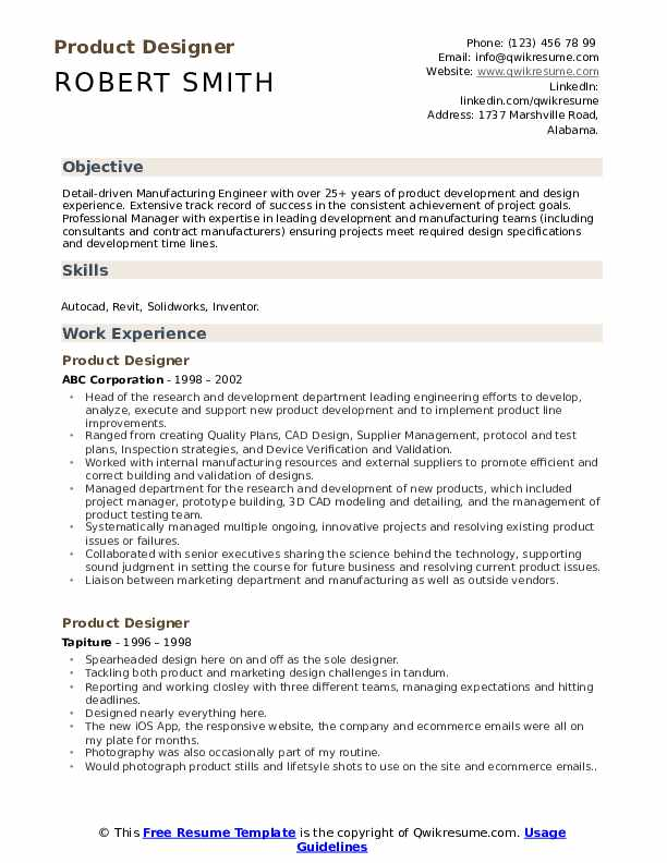 Product Designer Resume Sample