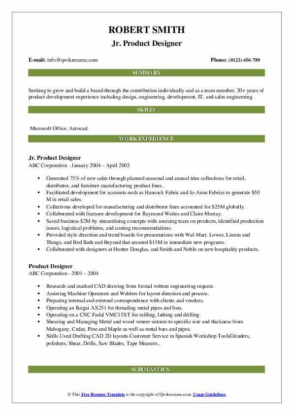 Jr. Product Designer Resume Model