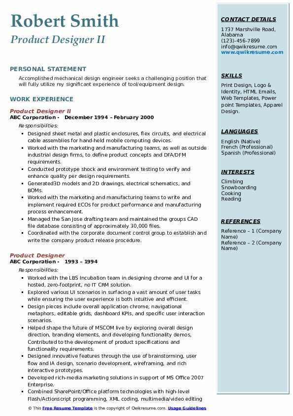 Product Designer II Resume Format