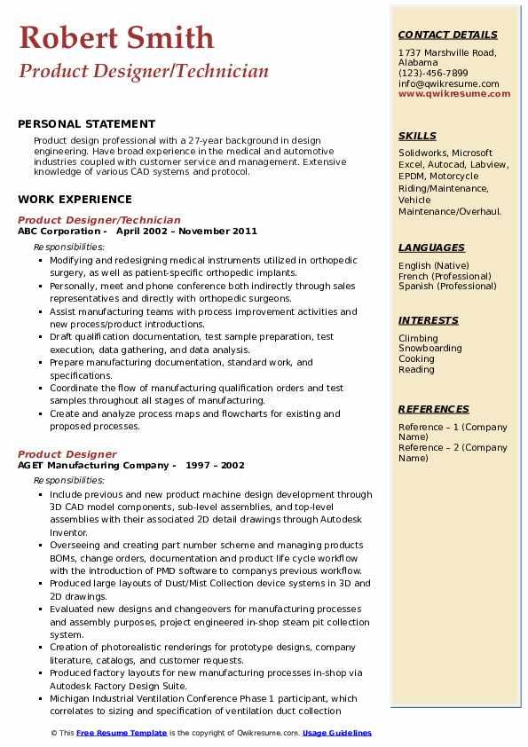 Product Designer/Technician Resume Format