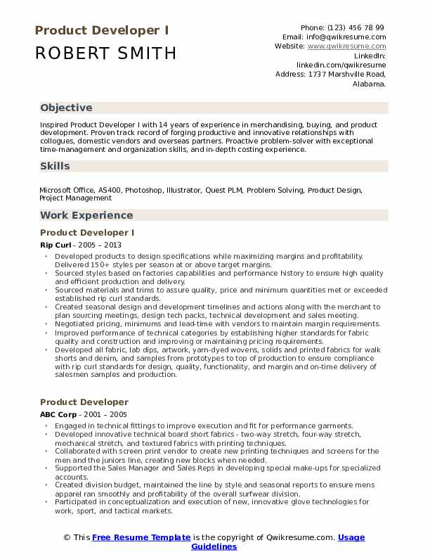 Product Developer I Resume Template