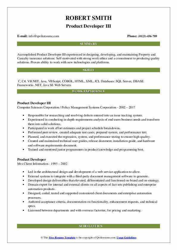 Product Developer III Resume Template