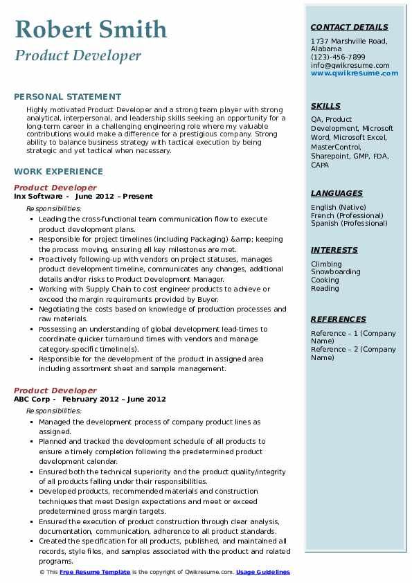 Product Developer Resume Sample