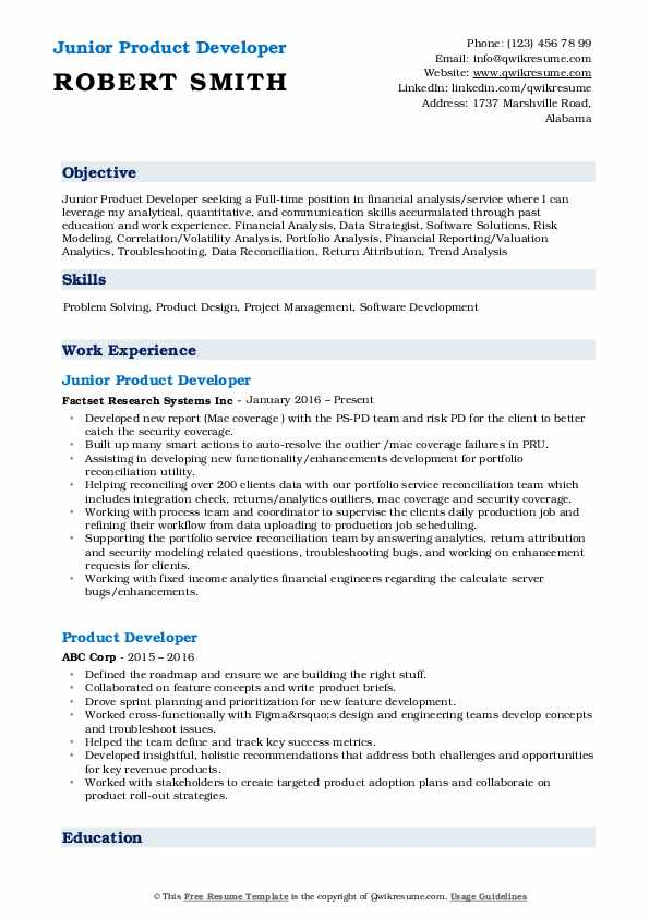 Junior Product Developer Resume Example
