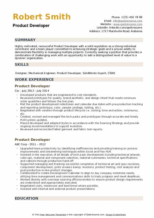 Product Developer Resume example