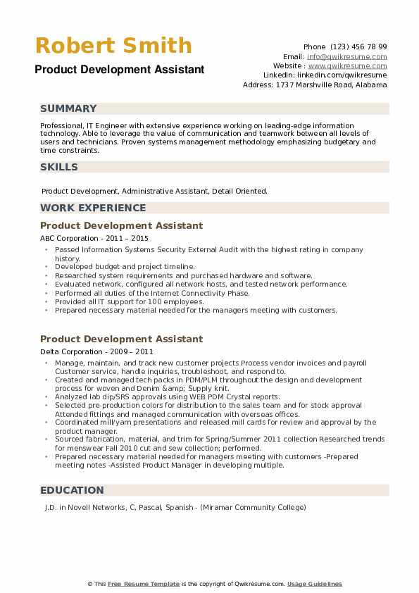 Product Development Assistant Resume example