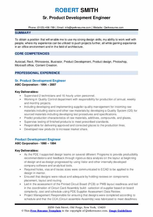 Sr. Product Development Engineer Resume Sample