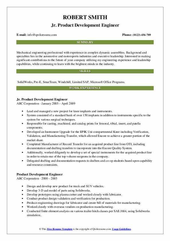 Jr. Product Development Engineer Resume Example