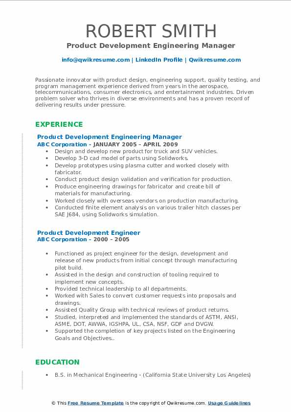 Product Development Engineering Manager Resume Template