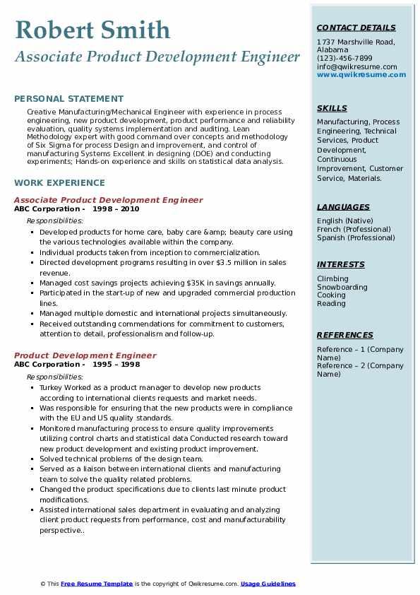 Associate Product Development Engineer Resume Sample