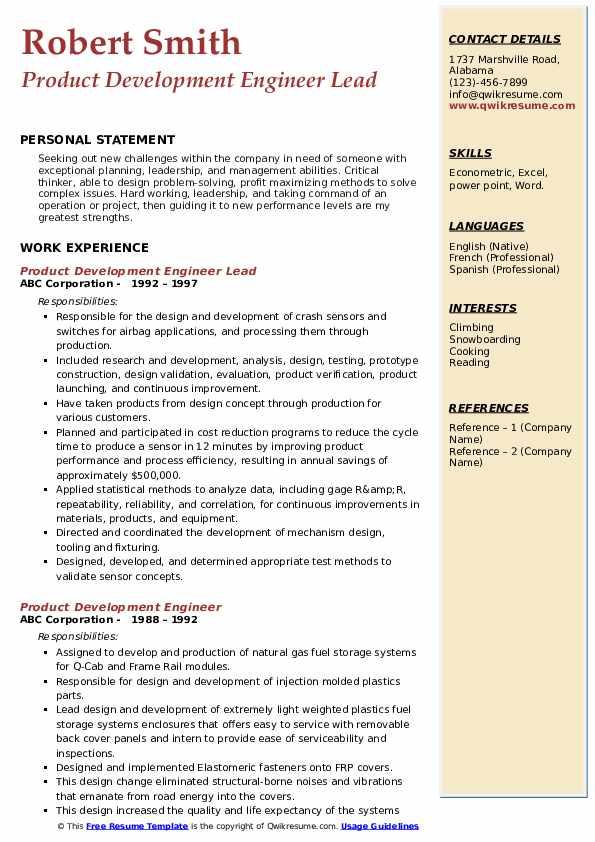 Product Development Engineer Lead Resume Format