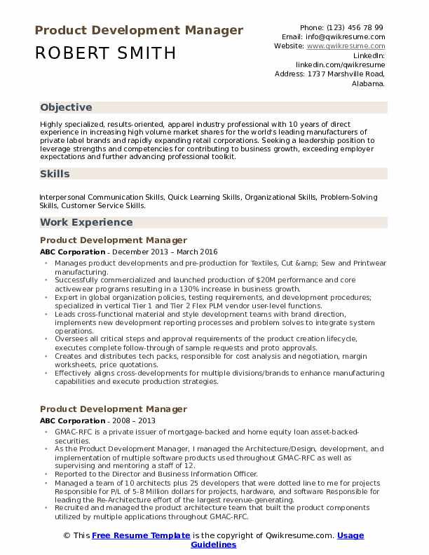 Product Development Manager Resume Format
