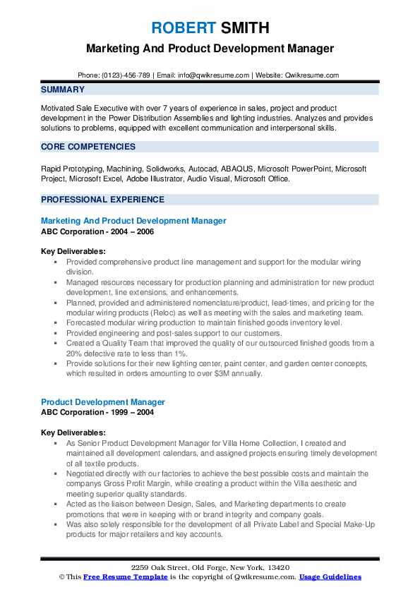 Marketing And Product Development Manager Resume Sample