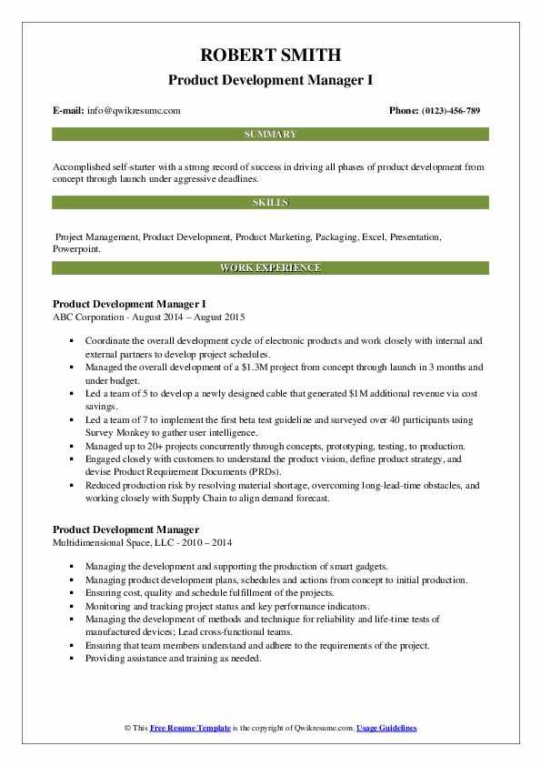Product Development Manager I Resume Template