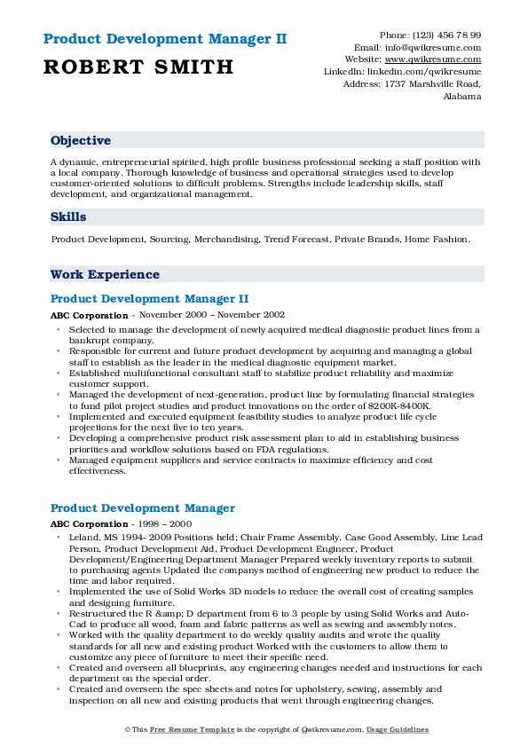 Product Development Manager II Resume Model