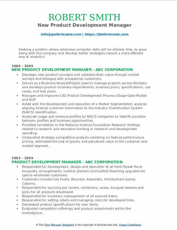 New Product Development Manager Resume Format