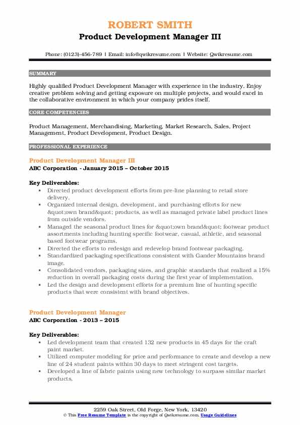 Product Development Manager III Resume Format