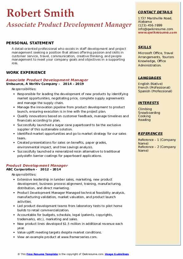 Associate Product Development Manager Resume Example