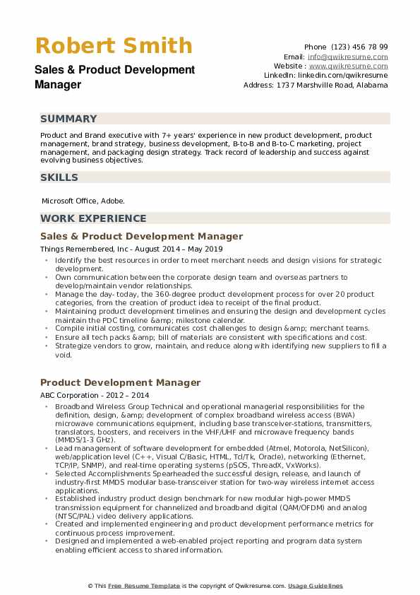 Sales & Product Development Manager Resume Format