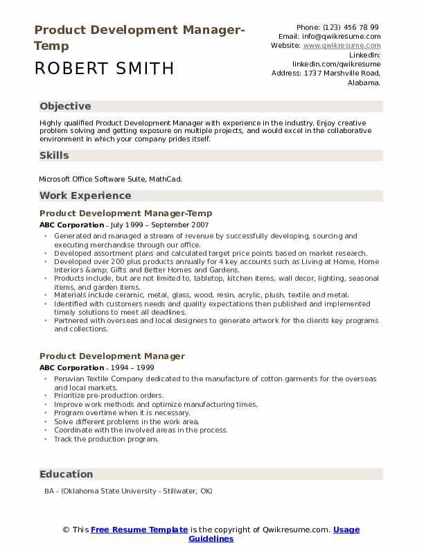 Product Development Manager-Temp Resume Model