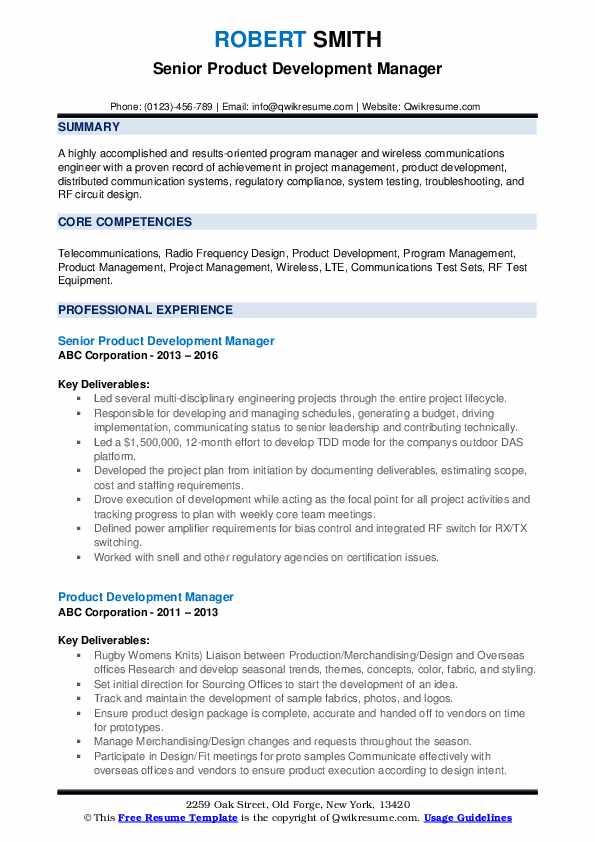 Senior Product Development Manager Resume Example
