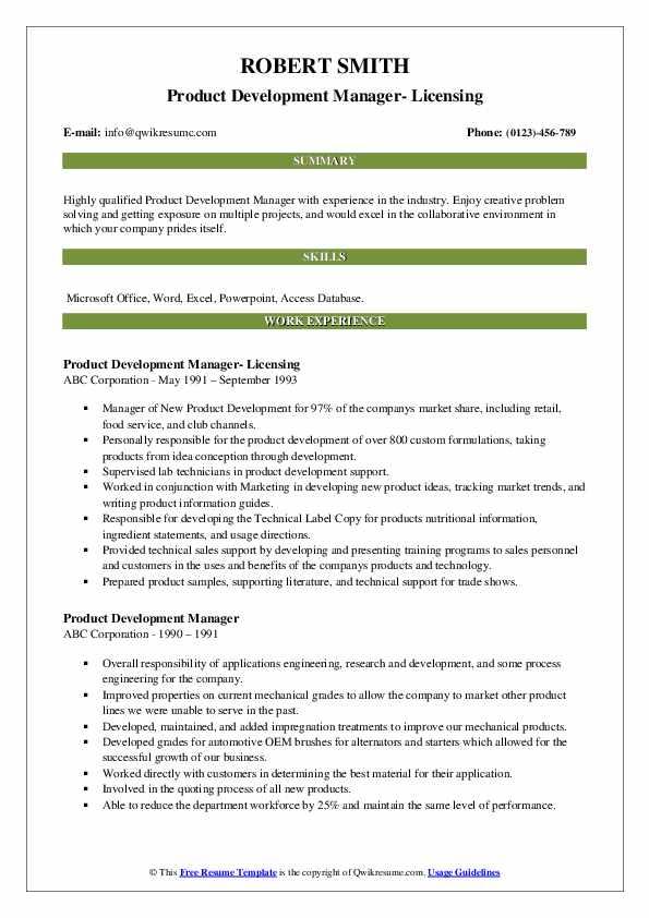 Product Development Manager- Licensing Resume Model
