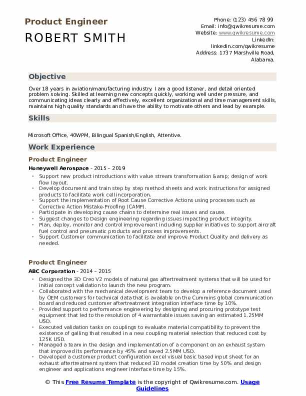Product Engineer Resume Format