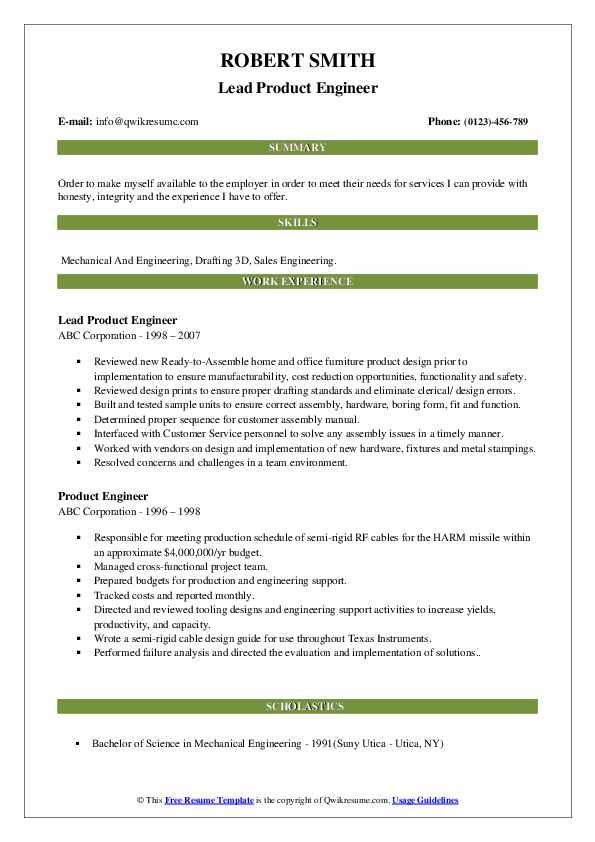 Lead Product Engineer Resume Format