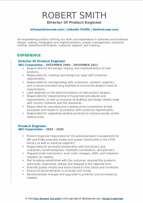 Director Of Product Engineer Resume Sample