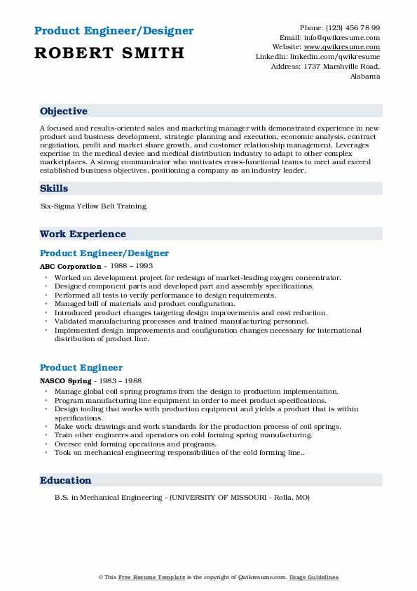Product Engineer/Designer Resume Format