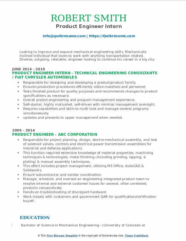 Product Engineer Intern Resume Model