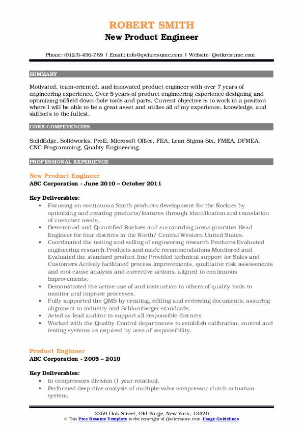 New Product Engineer Resume Example