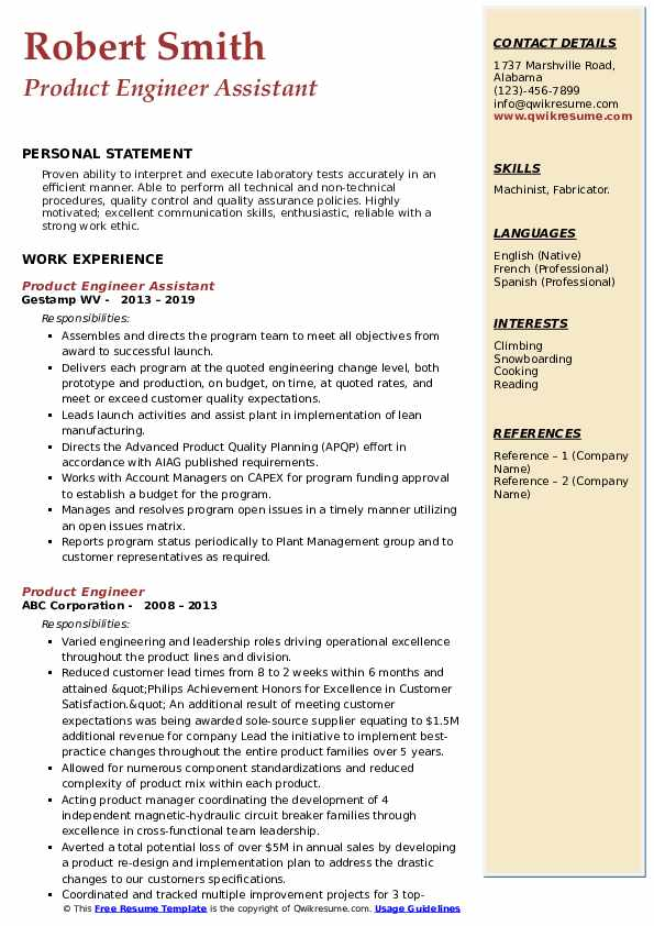 Product Engineer Assistant Resume Example