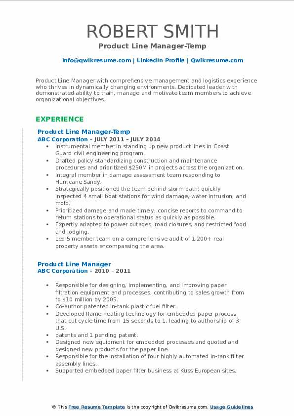 Product Line Manager-Temp Resume Format