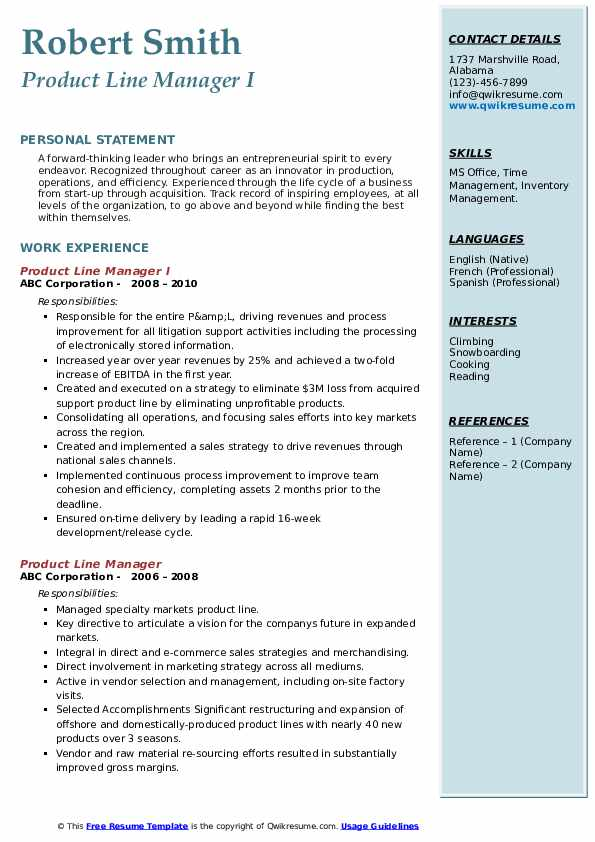 Product Line Manager I Resume Sample